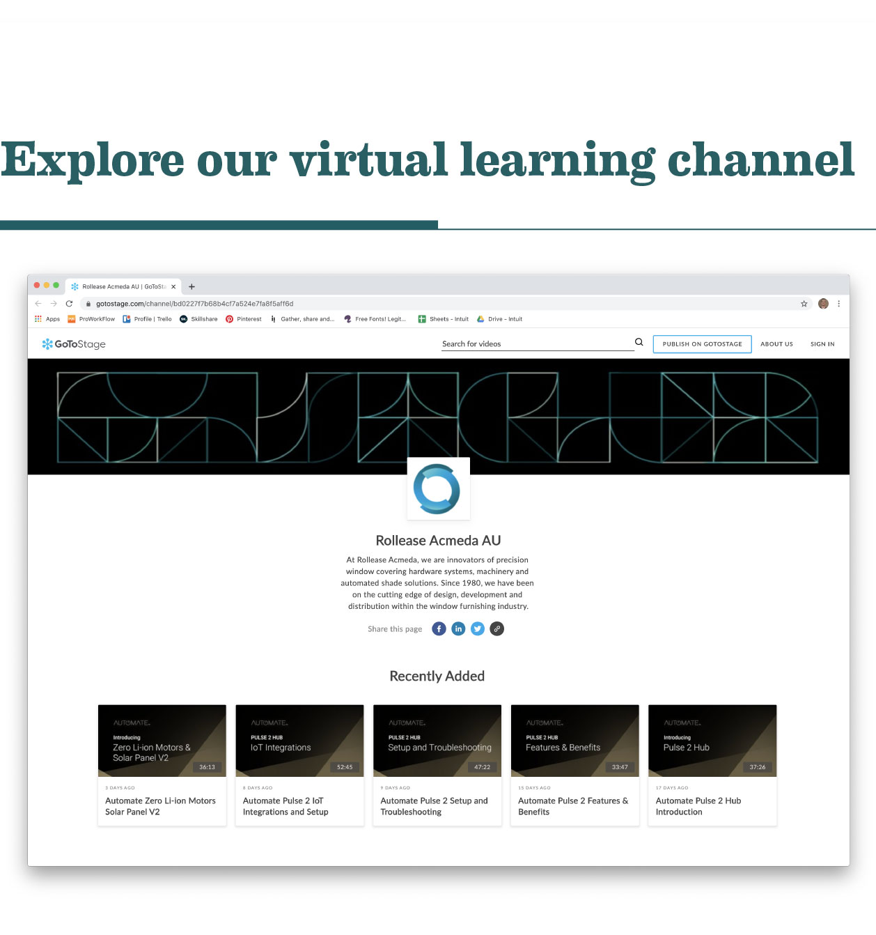 Explore our virtual learning channel