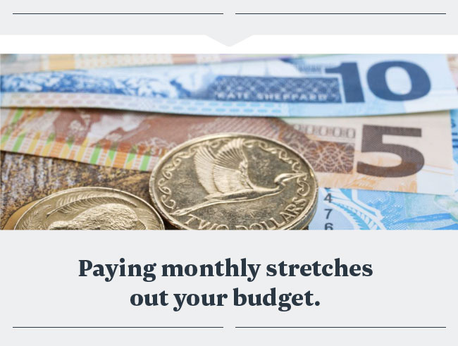 Paying monthly stretches out your budget.